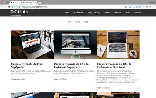 Página de Projetos do Site D'Gitais